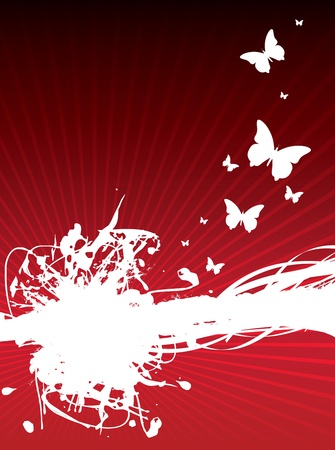 a splash spiral background with butterflies Vector