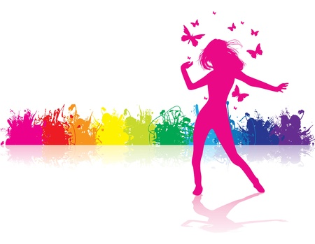 a girl dancing on a splash background Vector