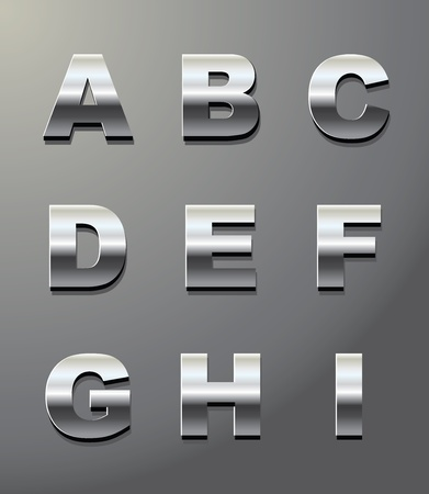 shiny metal: shiny metal letters in chrome