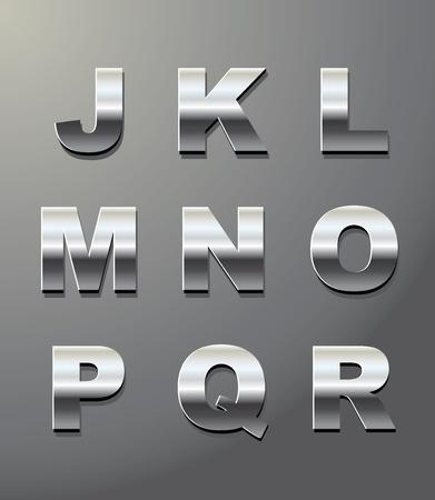 glänzend Metall Buchstaben in Chrom