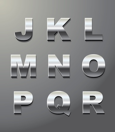 shiny metal letters in chrome Vector