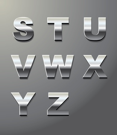 chrome: shiny metal letters in chrome
