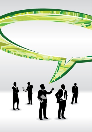 business people with an abstract speech bubble Vector