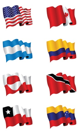 north and south america flags Stock Vector - 9645986