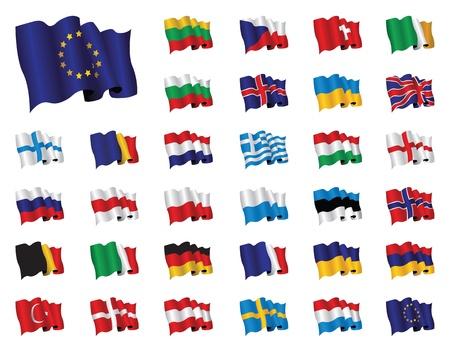 set Europese vlaggen Vector Illustratie