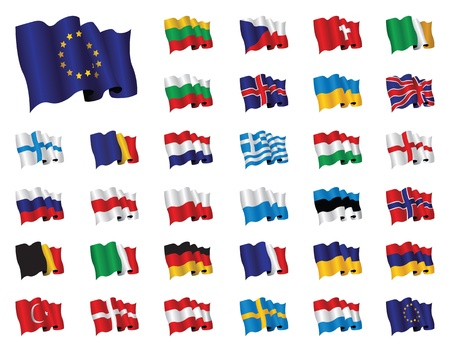 flapping: set of european flags