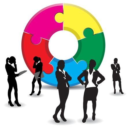 business women on a jigsaw background Vector