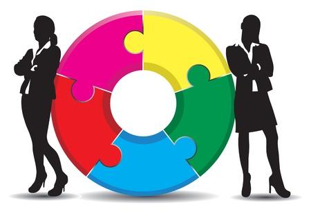 mujeres dinero: una mujer de negocios sobre un fondo de jigsaw