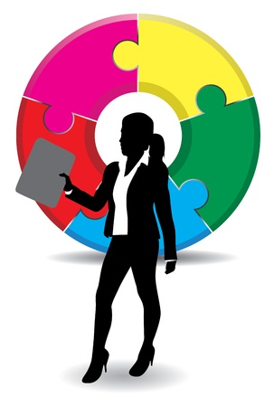 a business woman on a jigsaw background Vector