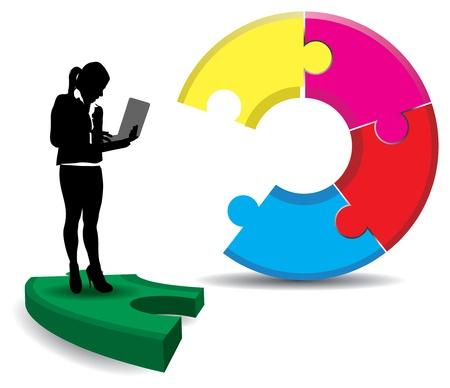 business stress: una se�ora de negocio sobre un fondo abstracto jigsaw