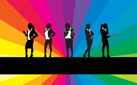 listeners: business women on a rainbow background