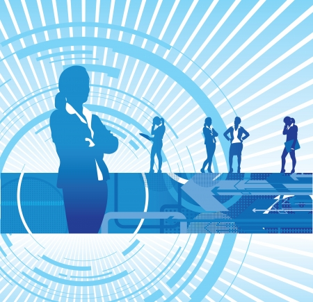 a set of business women on an abstract background Vector