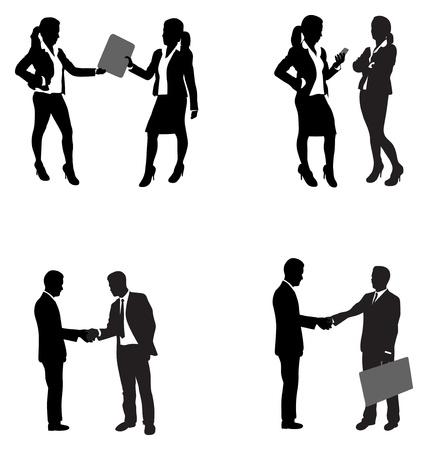 smart phone hand: business people shaking hands Illustration