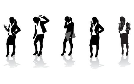 smart woman: a set of business women on the phone