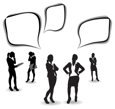 woman tie: business women with speech bubbles