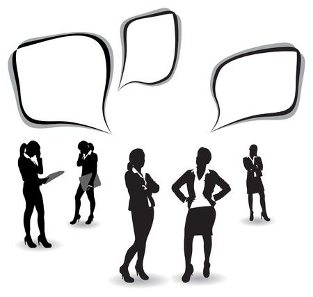 mujeres dinero: mujeres de negocios con burbujas de discurso Vectores