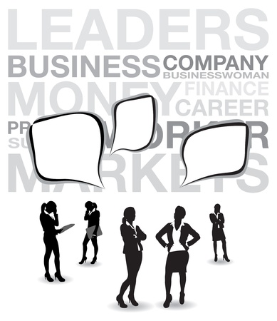 welcome business: business women with speech bubbles