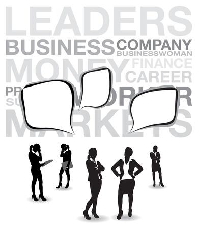 mujeres dinero: las mujeres de negocios con las burbujas del discurso