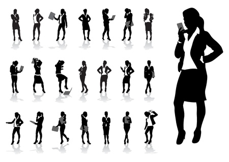 business stress: un conjunto de mujeres de negocios Vectores