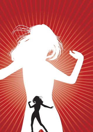 female athletes: a dancing woman silhouette