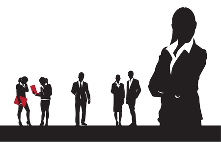 listeners: black and white business people