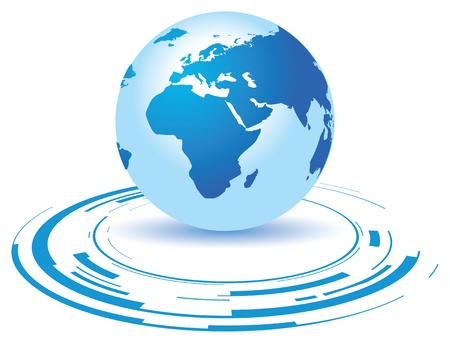 a globe on a broken blue background Illustration
