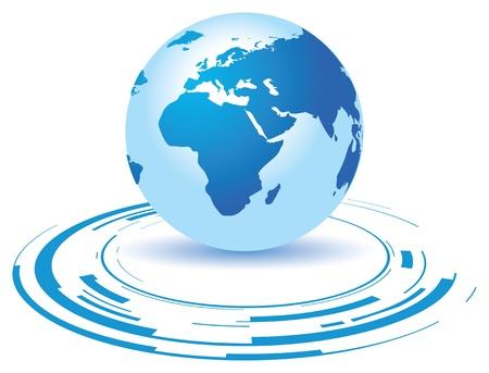 mapa de africa: un globo terráqueo sobre un fondo azul roto Vectores