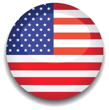 united nations: Bandera de Estados Unidos en un bot�n Vectores