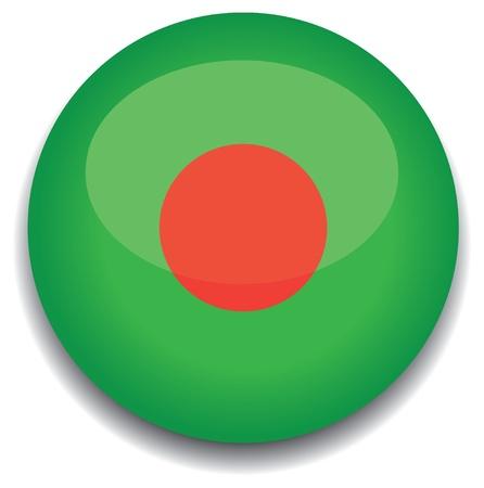 bangladesh flag in a button Vector