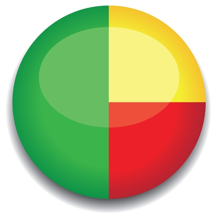benin flag in a button Vector