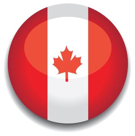 canada flag in a button Stock Vector - 10230211