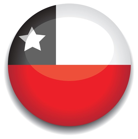 chile flag in a button Stock Vector - 10230193