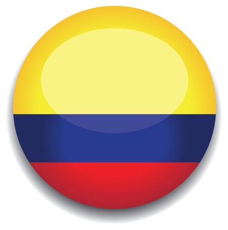 red sphere: colombia flag in a button Illustration