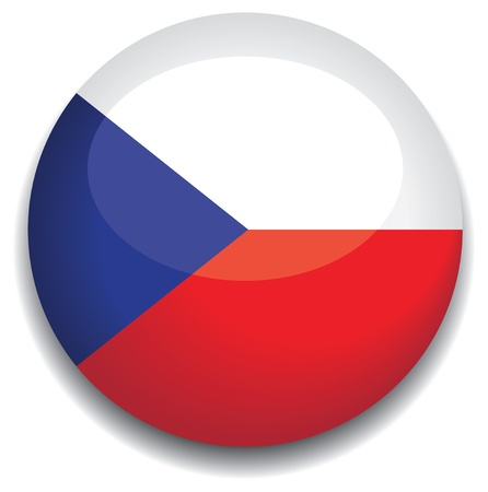 czech republic flag in a button Vector