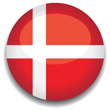 denmark flag in a button Vector