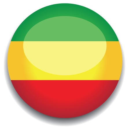 ethopia flag in a button Vector