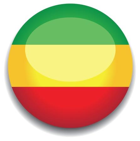 ethopia flag in a button Vector