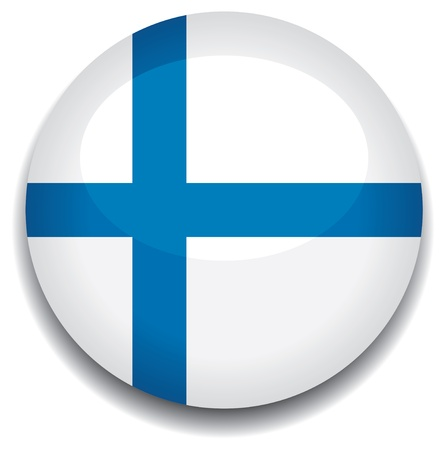 finland flag: finland flag in a button