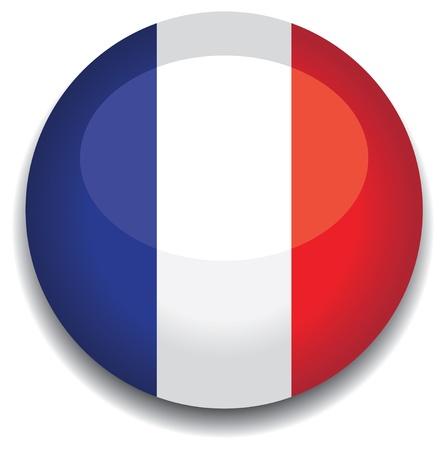 flag france: Drapeau de la France dans un bouton.
