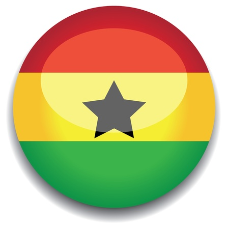 ghana flag in a button Illustration