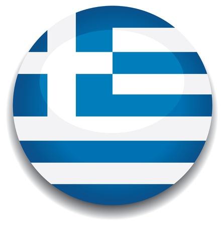 greece flag in a button Vector