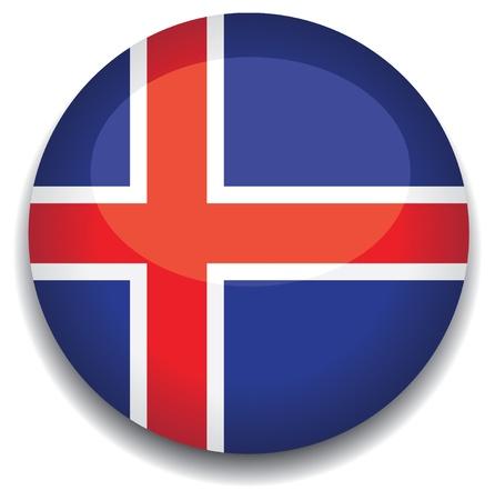island�s: Bandera de Islandia en un bot�n