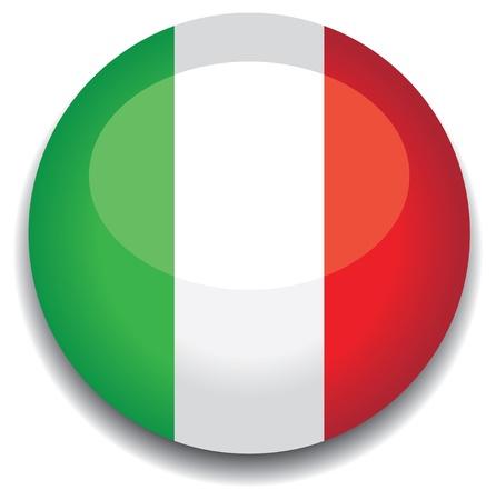 italy flag in a button Vector