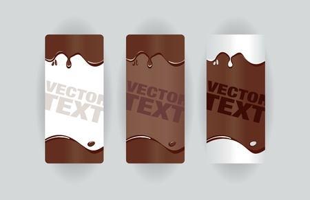 melt chocolate: banners de chocolate splodge Vectores