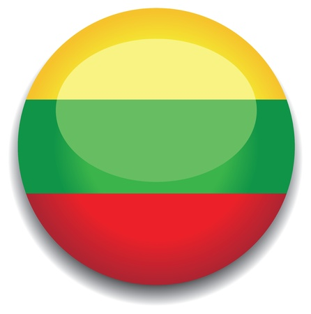 lithuania flag in a button Vector