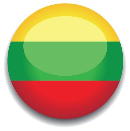 Lituania bandera en un botón Ilustración de vector