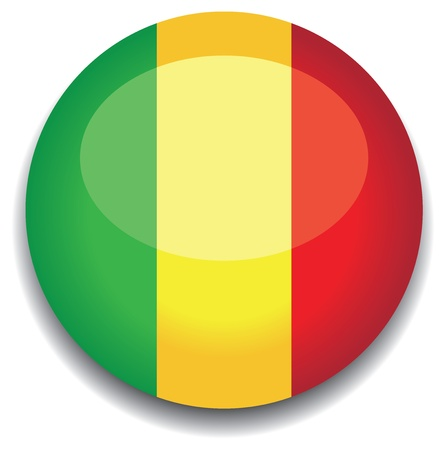 mali flag in a button Vector