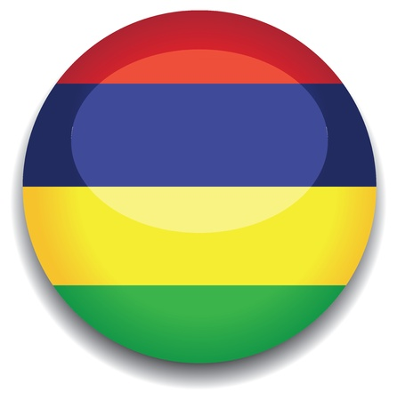 mauritius flag in a button Vector