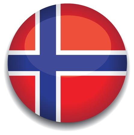 Bandera de Noruega en un botón Ilustración de vector