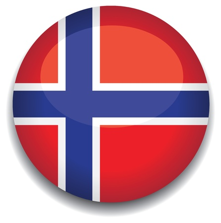 norway flag in a button Vector